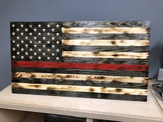 Wooden Thin Red Line American Flag