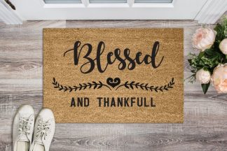 Blessed and Thankful Floor Welcome Mat