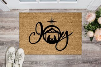 "Joy Christmas Nativity Scene Floor Welcome Mat 18"" x 30"""