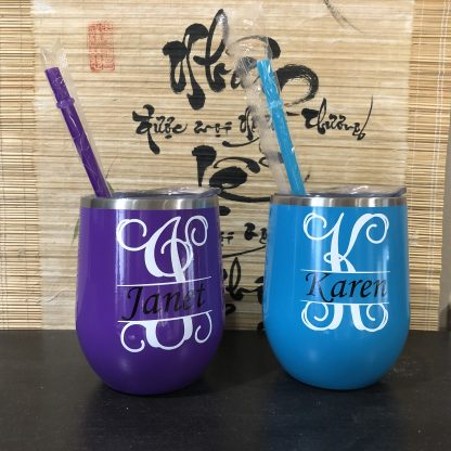 Custom Monogramed 12 oz Stainless Steel Wine Tumbler With Straw