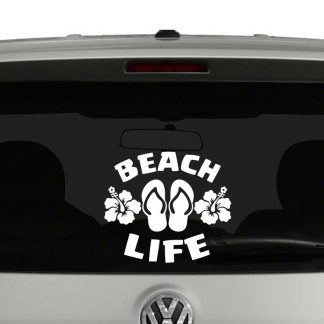 Beach Life Flip Flops and Hibiscus Flowers Vinyl Decal Sticker