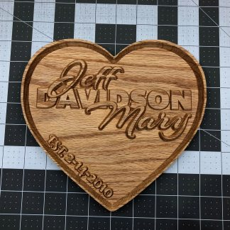 Carved Wooden Couples Heart