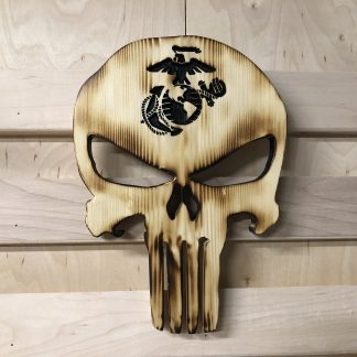 Wooden Carved Burned Natural Punisher Skull With Military Emblem