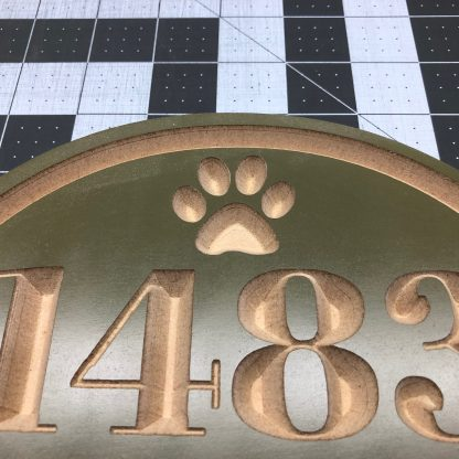 """House Address Engraved Plaque 15"""" x 9"""" House Number Outdoor Sign Paw Print"""