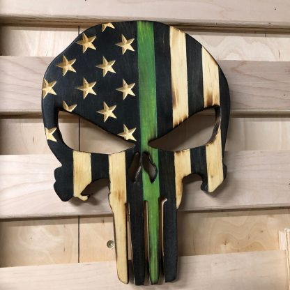 Wooden American Flag Punisher Skull Thin Green Line