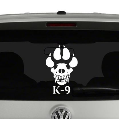 K9 K-9 Skull Paw Police Military Vinyl Decal Sticker