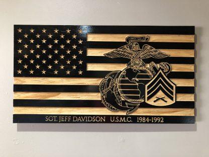 Wooden Carved American Flag Marine Corps EGA Rank Insignia