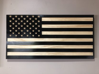 Wooden Carved American Flag Black and Natural Gloss