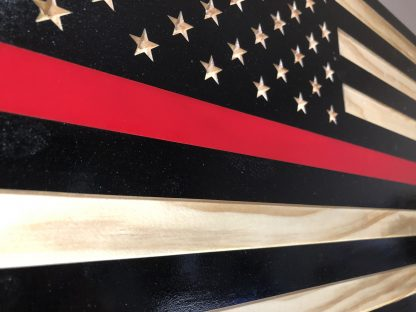 Wooden American Thin Red Line Flag